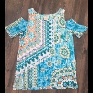 Chico's cold shoulder tunic top